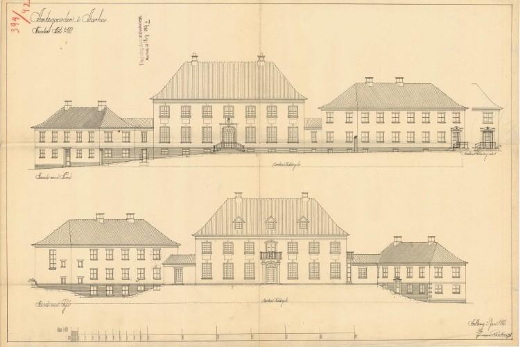 Ejendommen Kontoruniverset med tværsnit tegning set fra facaden